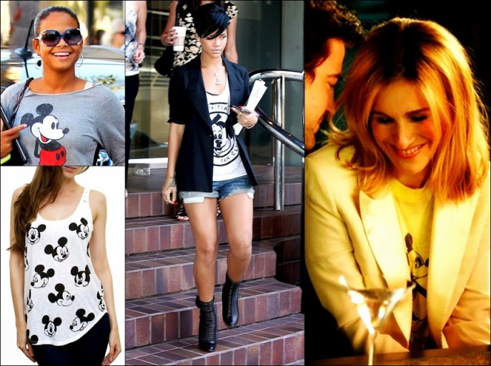 Mickey Mouse Fashion Rihanna, Junkfood tops, SJP in Mickey top & Christina Milian