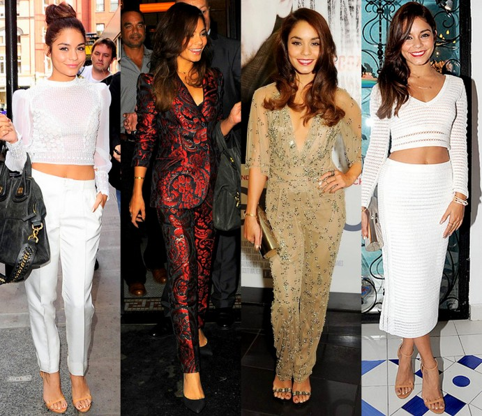 vanessa-hudgens-1-290into white crop tops and matching bottoms. The actress bares her belly again in this Catherine Malandrino jenny packmang