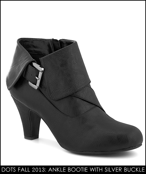 Black bootie with silver buckle