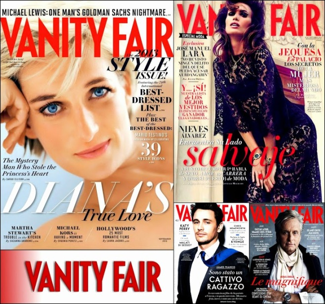 September 2013 Covers Magazines Vanity Fair, Diana, Franco, Michael Douglas Covers