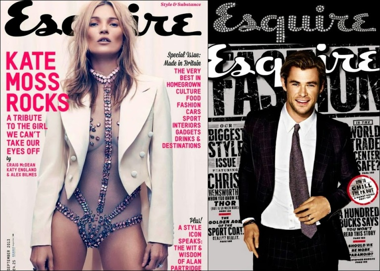 September 2013 Esquire Kat Moss, Chis Hemsworth Covers