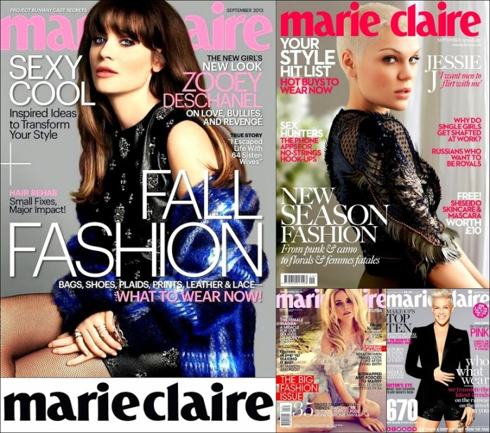 September 2013 Marie Claire Zooey D, Pink, Jessie J, Covers