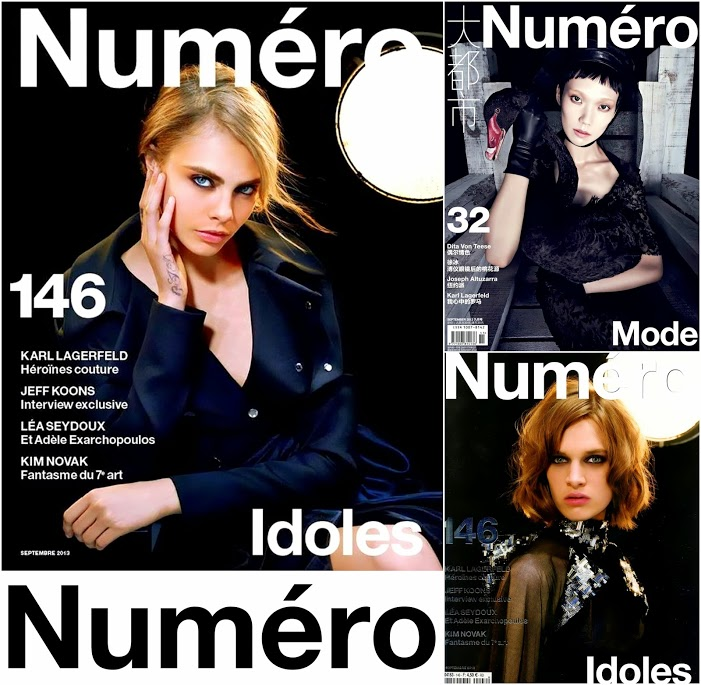 September  2013 Numero Magazine Covers Cara D, Karl Lagerfield Covers