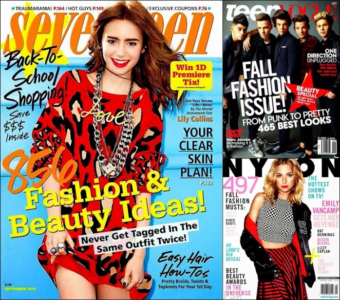 September 2013 Teen Magazines Seventeen, Teen Vogue, Nylon Covers