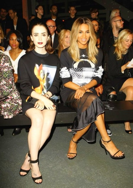 0Lily Collins & Ciara - Front Row at Givenchy, SS 2014 RTW