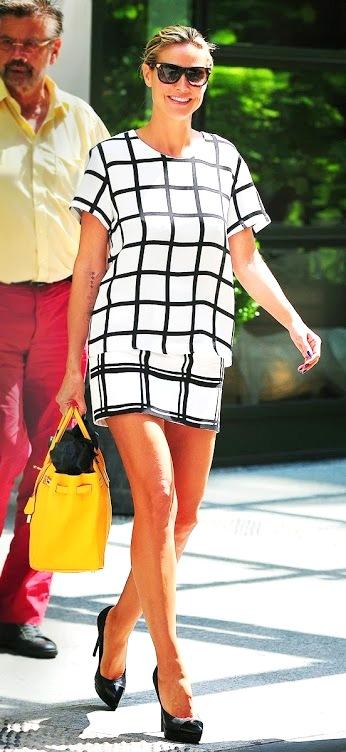 6 Heidi Klum  grid print style street style
