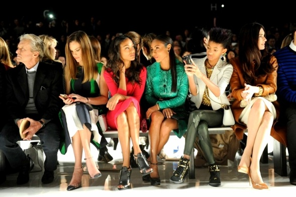 e76ad1e83251b0f92503Michael Douglas, Hilary Swank, Zoe Saldana, Jada Pinkett Smith, Willow Smith and Paz Vega front row at Michael Kors