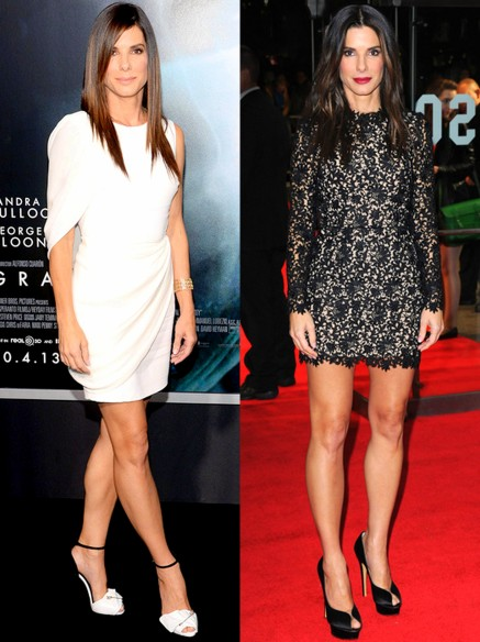 Bullock rocked a white draped Giambattista Valli dress. She completed her look with Martin Katz jewelry and black-and2013 BFI London Film Festival premiere for her film Gravity, Bullock smoldered in a black and nude lace top and skirt by Stella McCartney.