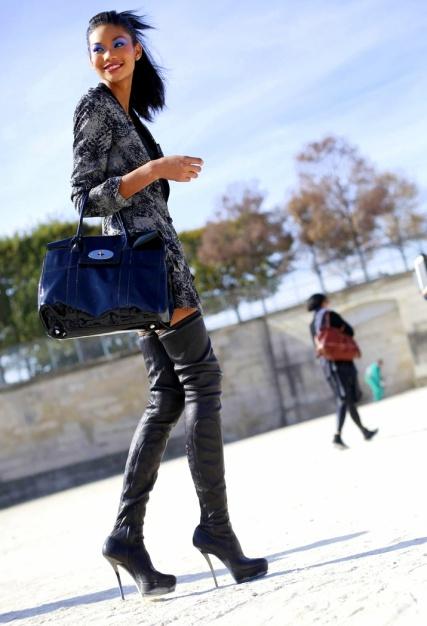 chanel iman boots street models off duty