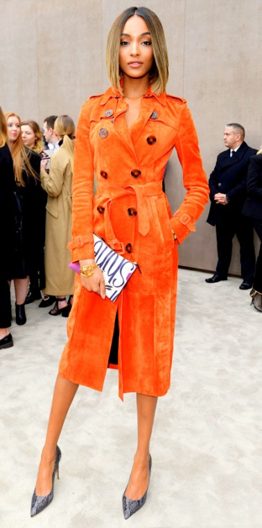 Coat Dresses Are Always In: Jourdan Dunn Has Brighten Up Style Once Again With This Orange Burberry Prorsum Trench Coat Dress At The Burberry Prorsum Fall-Winter Men's Fashion Show In London.