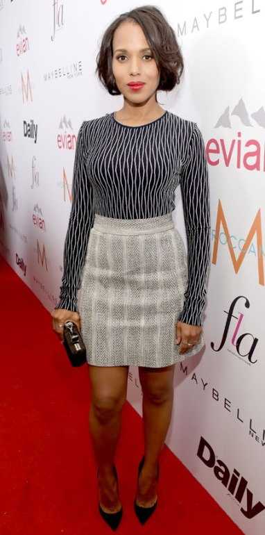 The Prints Rule Simplicity:  Kerry Washington Kept It Simple But Controlled In A Graphic Black & White Long-Sleeve Top Along With A Chevron Print A-Line Skirt At The Daily Front Row Fashion Awards In L.A.