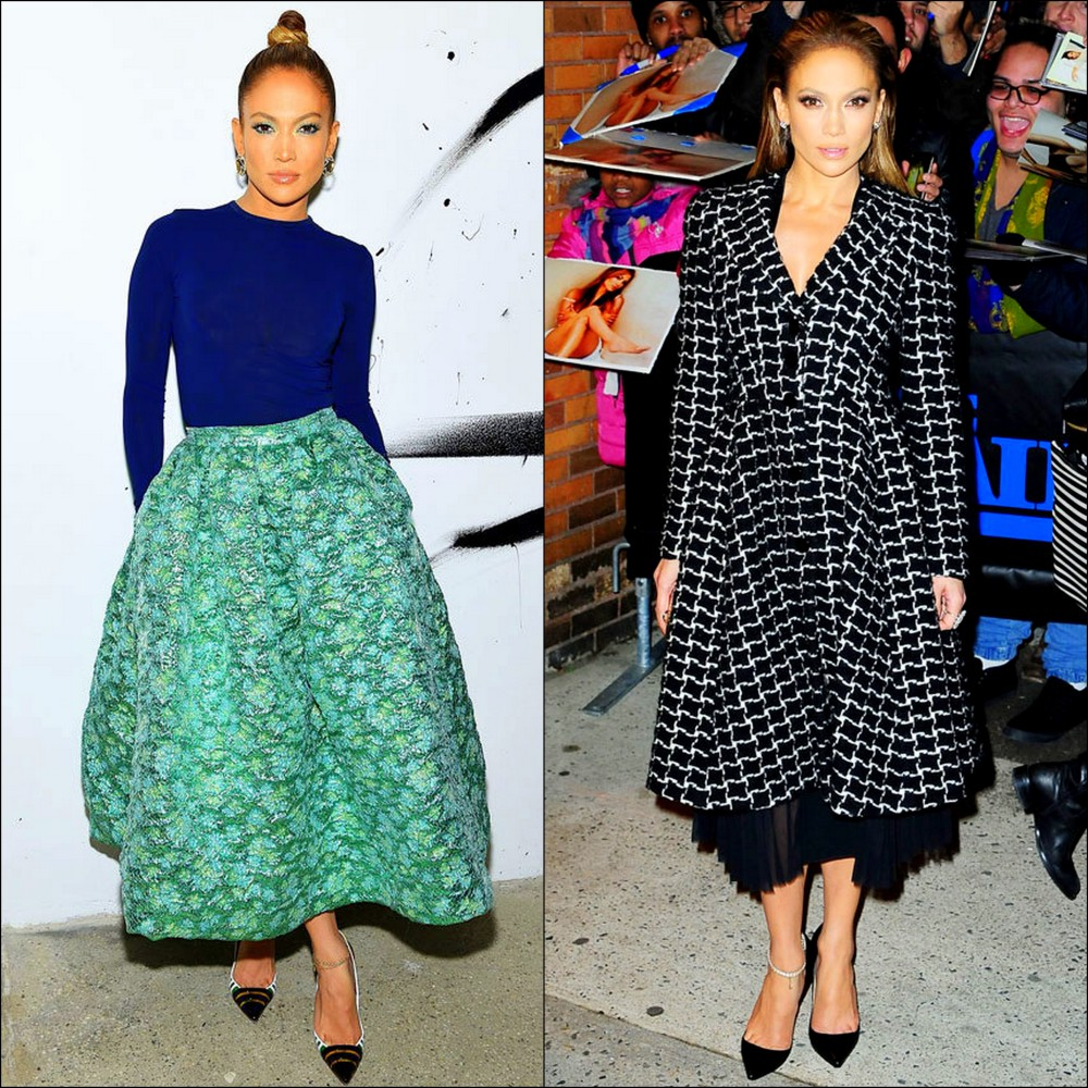 Rocked The Full Look: Jennifer Lopez Stayed Elegant In A Tea-Length Metallic Jade Skirt & A Navy Long-Sleeve Top, By Christian Siriano At The AOL Build Speaker Series In NYC The 2nd Outfit: She Wore A Fab Black & White Graphic Print A-Line Coat-Dress At The Daily Show with Jon Stewart In NYC