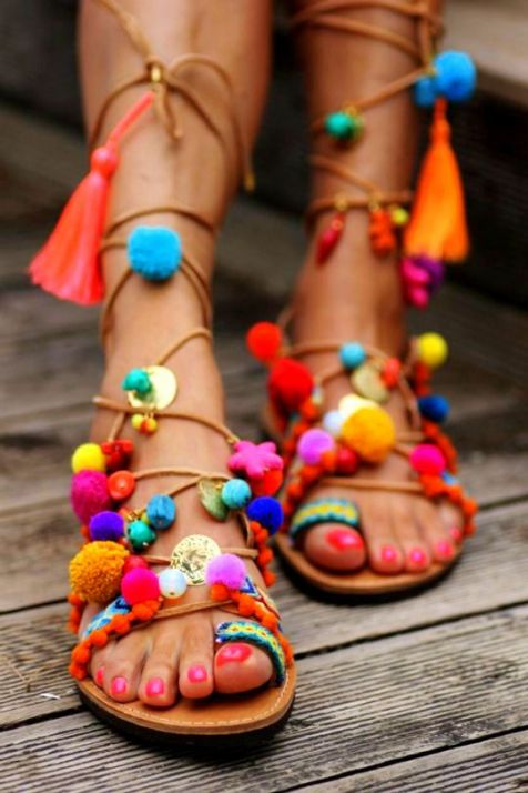 DIY Tassel gladiator sandals