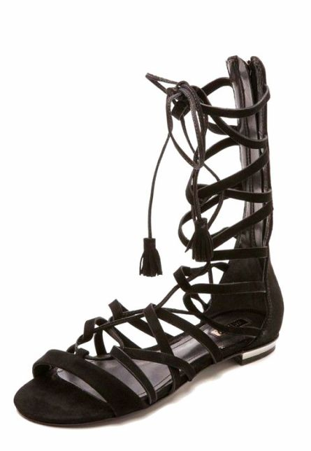 6Suede Gladiator Sandals with Tassels