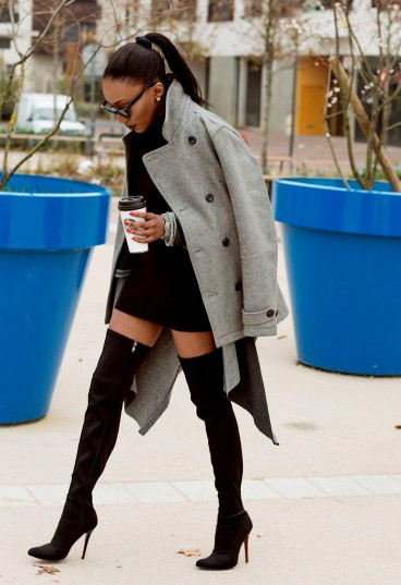 Fall over the knee boots street style