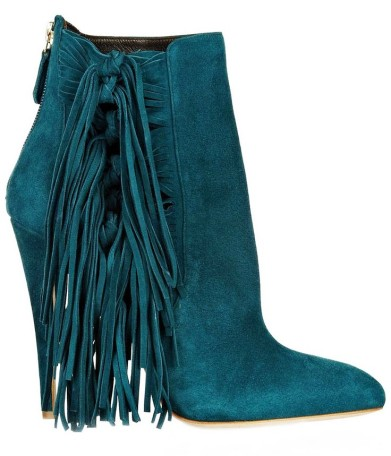 ankle Fringe suede booties