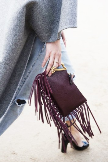 burgundy Fringe clutch