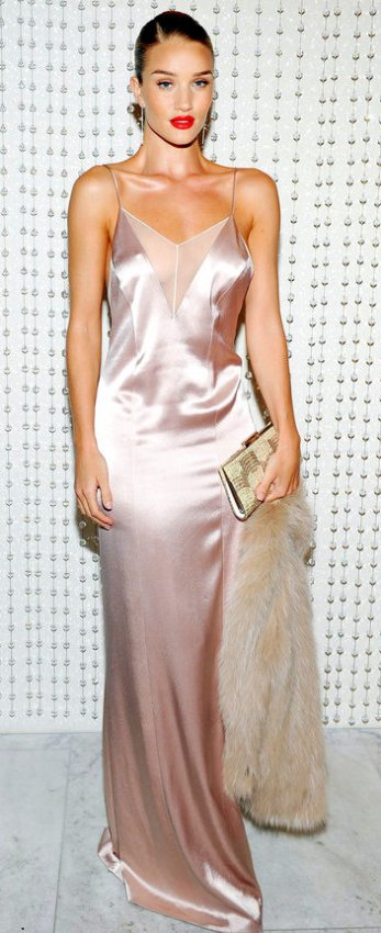011416-lotd-rosie-huntington-whiteley the glam factor at the Galvan for Opening Ceremony Dinner in a blush pink satin Galvin slip dress (with an illusion plunging neckline)
