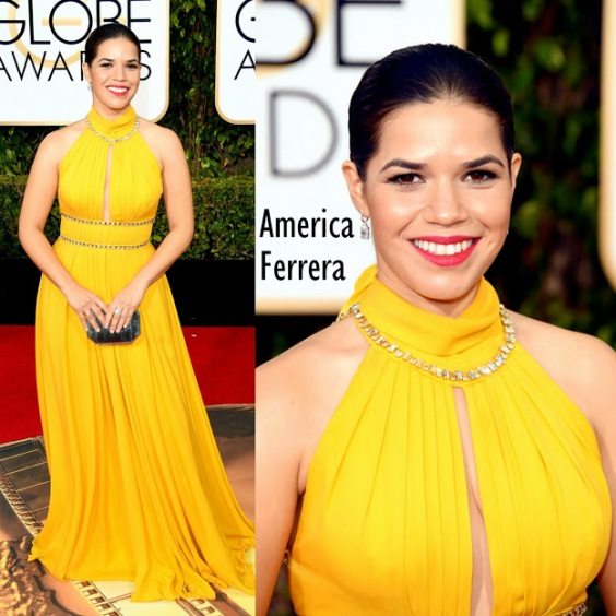 America Ferrera In Jenny Packham 73rd+Annual+Golden+Globe+Award