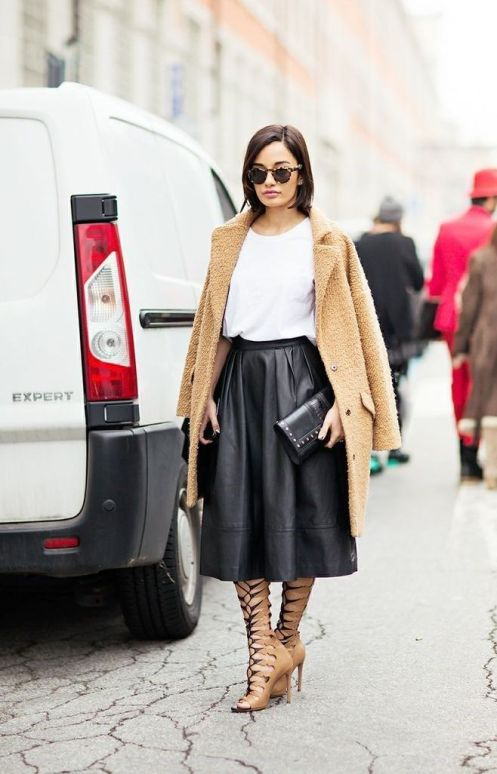 black leather skirt, nude lace up sandals, and a camel coat #StreetStyle
