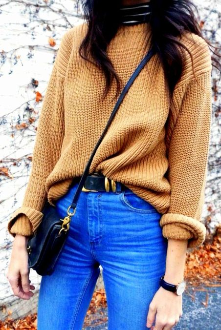 camel sweater look