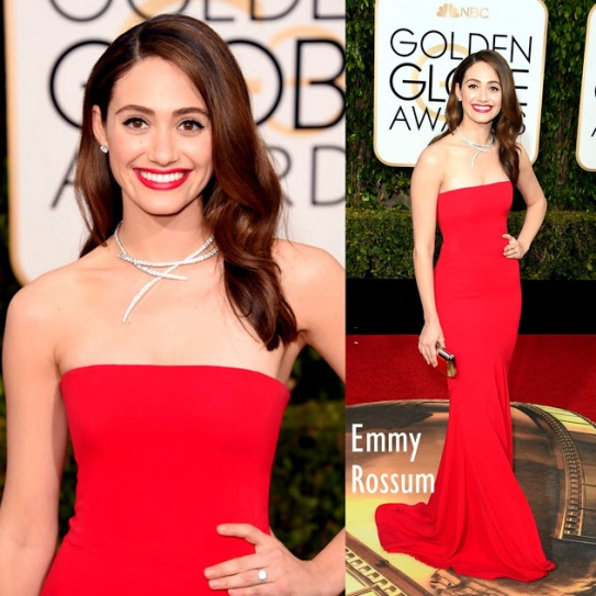 Emmy Rossum in Armani Privé 73rd+Annual+Golden+Globe+Awards