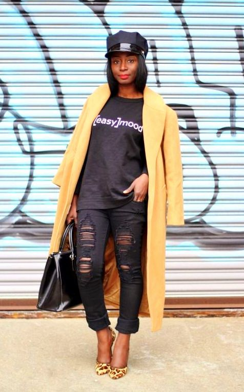 fall outfit, black womens inspiration, ripped denim