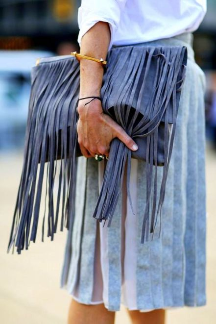 fringe clutch streetstyle inspiration