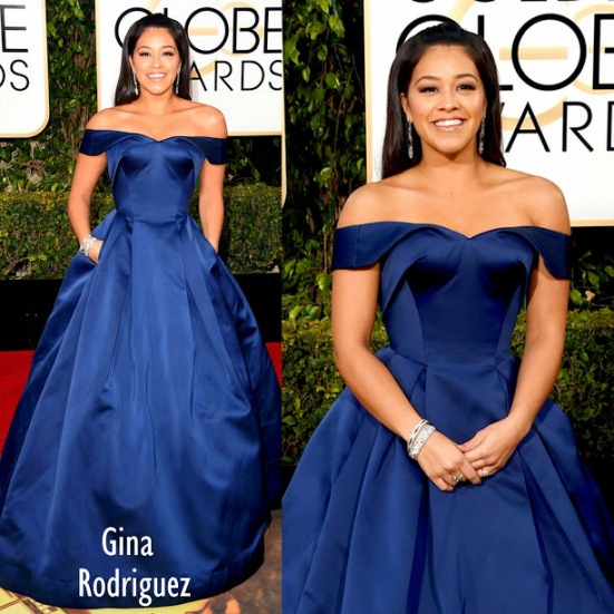 Gina Rodriguez in Zac Posen 73rd+Annual+Golden+Globe+Awards