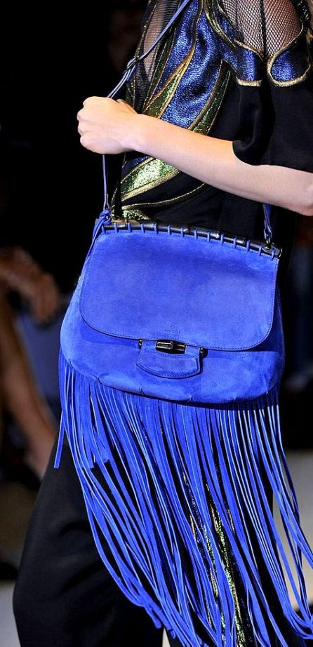 Gucci fringe bag that combines the practicality of a satchel