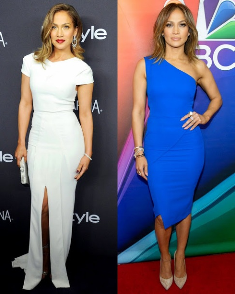 Jennifer Lopez In a white Roland Mouret & blue Victoria beckaham dress