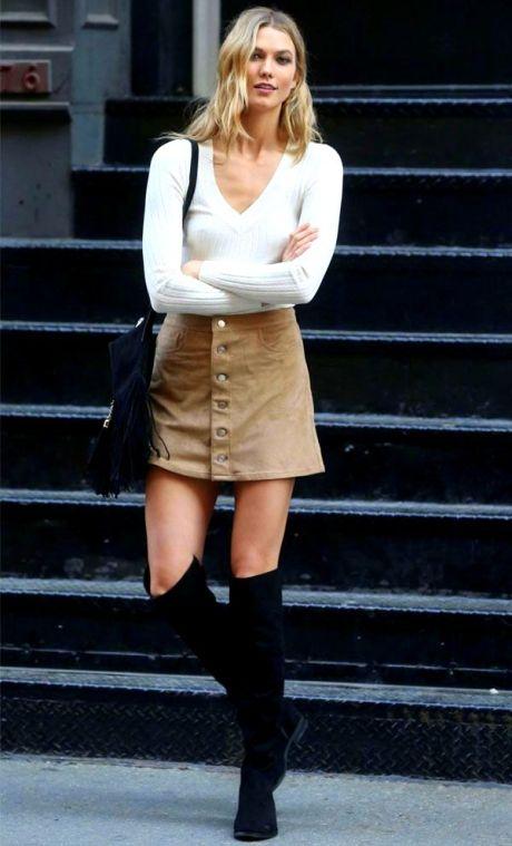 Karlie Kloss camel skirt