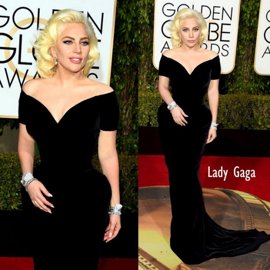 Lady Gaga in custom Versace 73rd+Annual+Golden+Globe+Awards