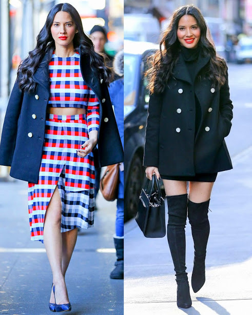 Olivia Munn In Tanya Taylor 2 piece look & Tory Burch peacoat & Black A.L.C. dress