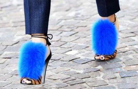 sergio rossi neon blue fur, best shoes ideas 2016.
