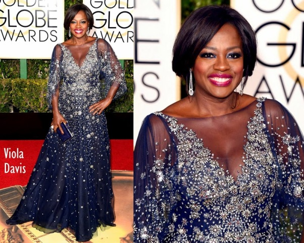 Viola Davis in Marchesa 73rd+Annual+Golden+Globe+Awards
