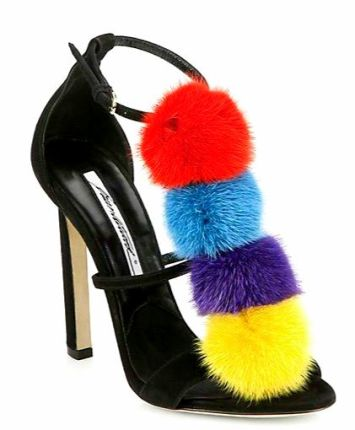Whimsical mink dyed pom-pom pump by Brian Atwood
