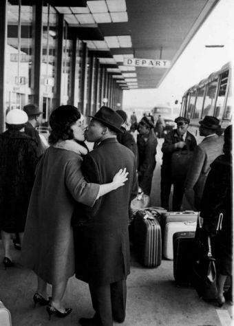 Dr. Martin Luther King & his Wife Coretta Scott King............Saying Goodbye