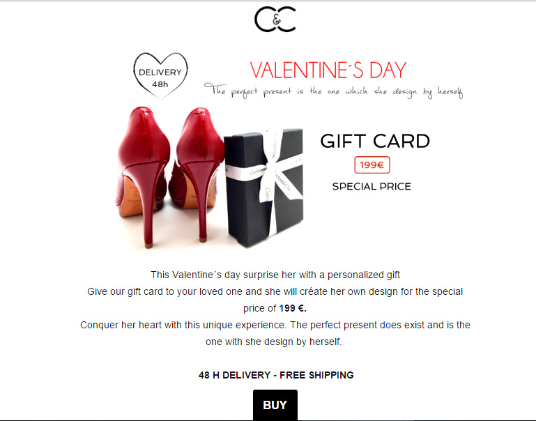 Valentine's Day Shoe Gift Card Custom & Chic