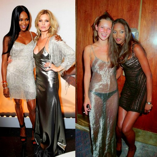 1990's Then & Now Naomi Campbell and Kate Moss wearing Kate Moss for Topshop at a private dinner