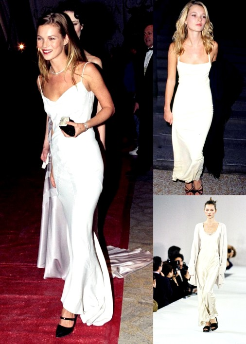 Kate Moss Evloution Into 1990 slip white dresses