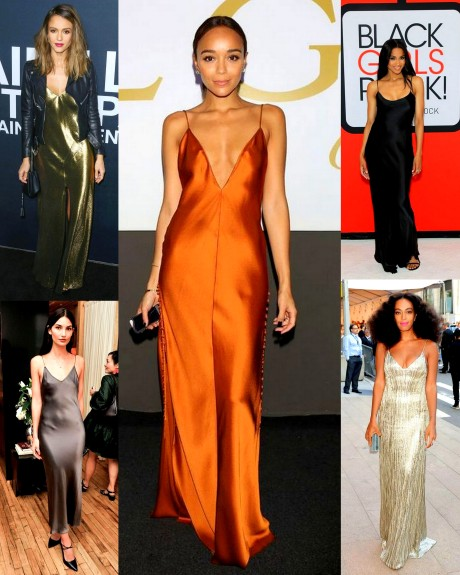 Long Metalltic Evening Slip Dresses Solange, Ciara, Jessica Alba, Lily aldrige