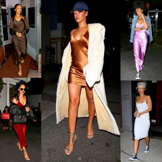 Rihanna-celeb-style slip dresses 2015 fab looks
