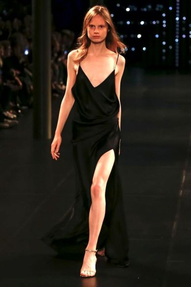Saint Laurent Spring 2016 Ready-to-Wear slip black dress