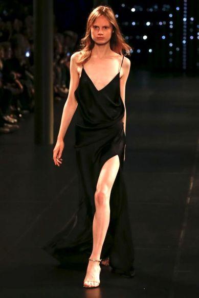 Saint Laurent Spring 2016 Ready-to-Wear slip black dress