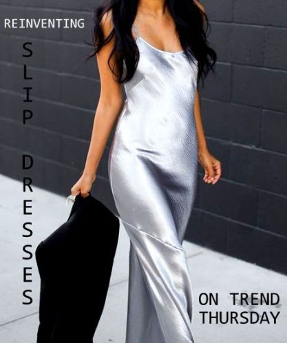 silver slip dress fashion blogger