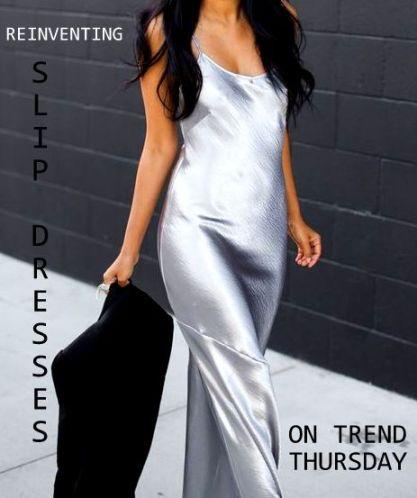 silver slip dress fashion blogger