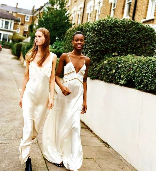 Two For the Road Mayowa Nicholas and Julie Hoomans for WSJ January 2016 slip dresses