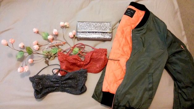 Bomber olive jacket and lace free people bras