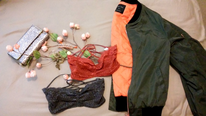 Olive Bomber jacket, lace free people bras,